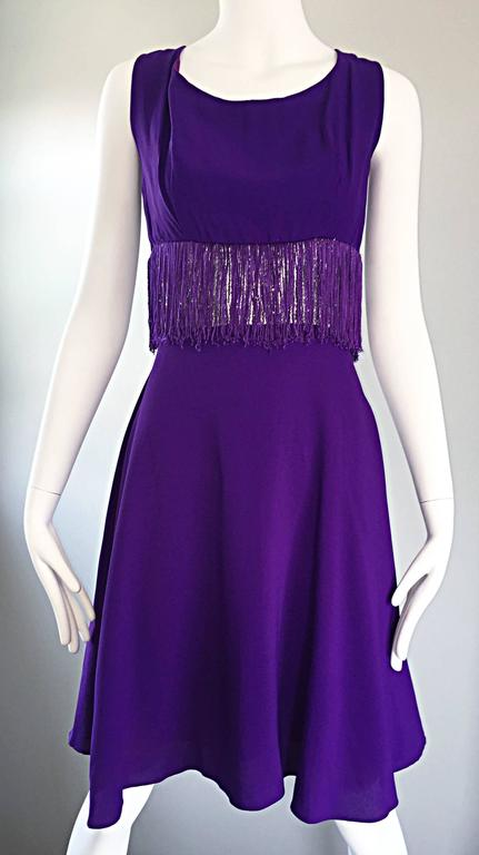 Purple and Silver Metallic 1960s Vintage A - Line Incredible 60s Fringe Dress For Sale 2