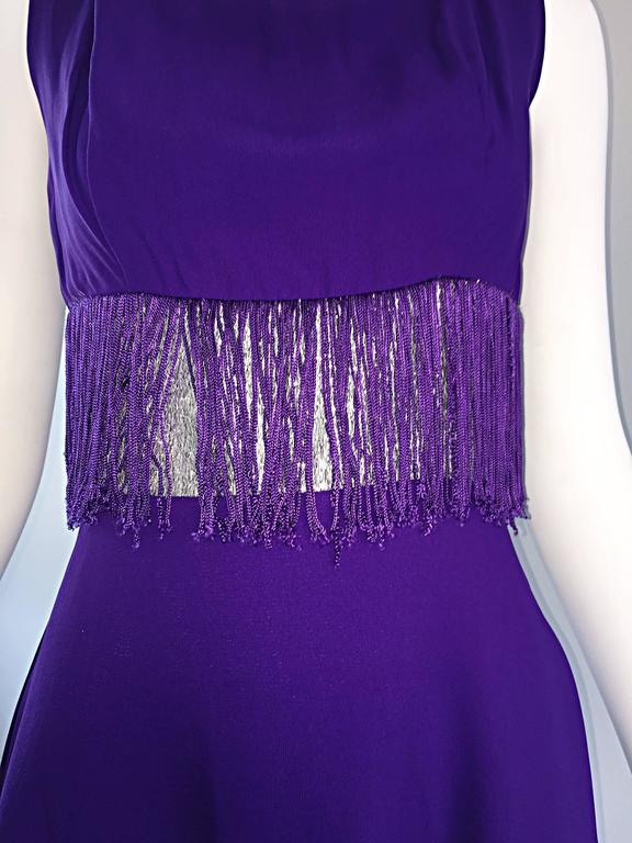 Purple and Silver Metallic 1960s Vintage A - Line Incredible 60s Fringe Dress For Sale 5