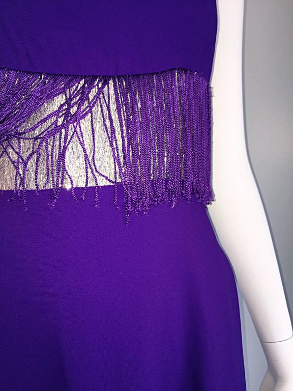 Purple and Silver Metallic 1960s Vintage A - Line Incredible 60s Fringe Dress For Sale 1