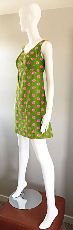 Adorable 1960s Lime Green and Pink Polka Dot Vintage A - Line 60s Cotton Dress 3