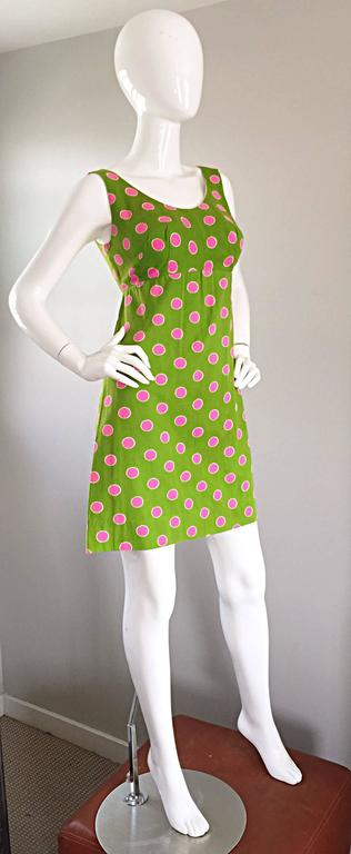 Adorable 1960s Lime Green and Pink Polka Dot Vintage A - Line 60s Cotton Dress 8