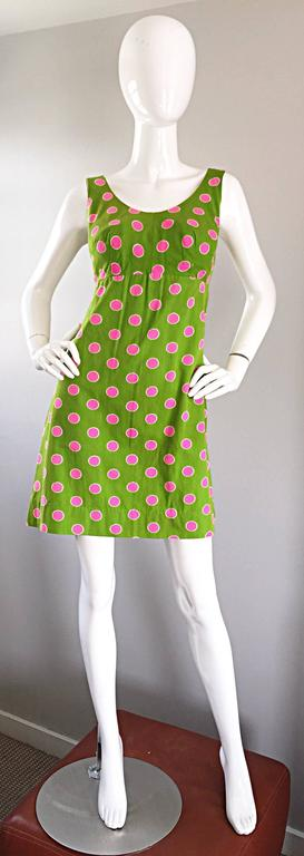 Adorable 1960s Lime Green and Pink Polka Dot Vintage A - Line 60s Cotton Dress 2
