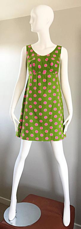 Adorable 1960s Lime Green and Pink Polka Dot Vintage A - Line 60s Cotton Dress For Sale 6