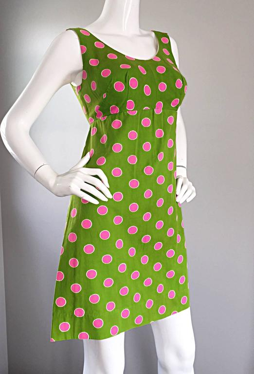 Adorable 1960s Lime Green and Pink Polka Dot Vintage A - Line 60s Cotton Dress 5