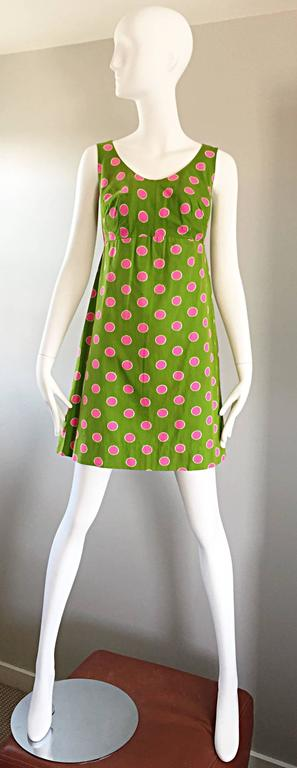Adorable 1960s Lime Green and Pink Polka Dot Vintage A - Line 60s Cotton Dress 6