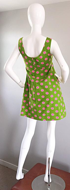 Adorable 1960s Lime Green and Pink Polka Dot Vintage A - Line 60s Cotton Dress 4