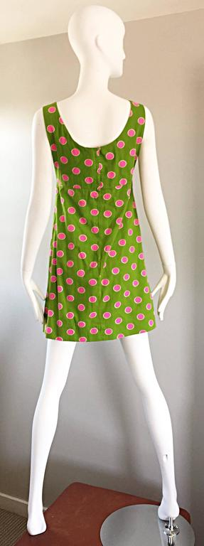 Adorable 1960s Lime Green and Pink Polka Dot Vintage A - Line 60s Cotton Dress For Sale 5