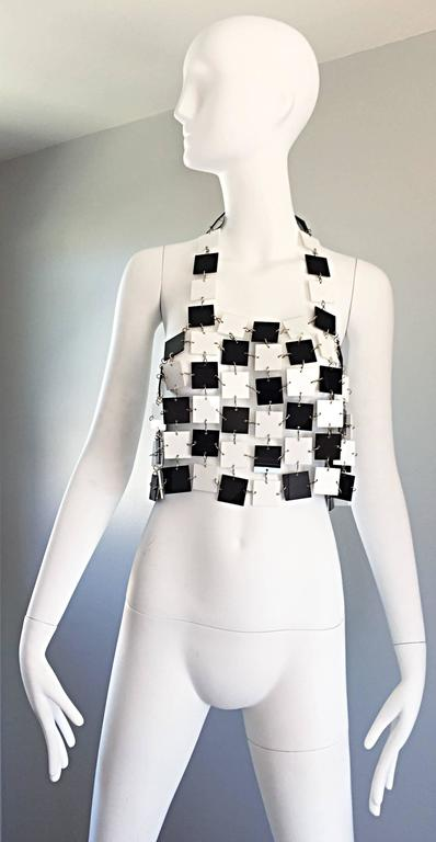 Paco Rabanne Black and White Acrylic Vintage Halter Crop Top, 1960s In Excellent Condition For Sale In San Francisco, CA