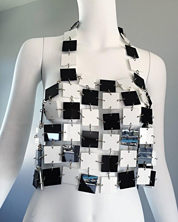Paco Rabanne Black and White Acrylic Vintage Halter Crop Top, 1960s For Sale 1