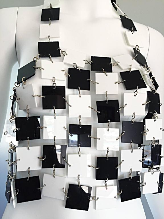 Paco Rabanne Black and White Acrylic Vintage Halter Crop Top, 1960s 8