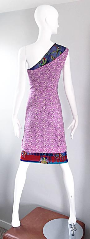 Vintage Gianni Versace Couture 1990s One Shoulder Mixed Media Bodycon Star Dress In Excellent Condition For Sale In San Francisco, CA