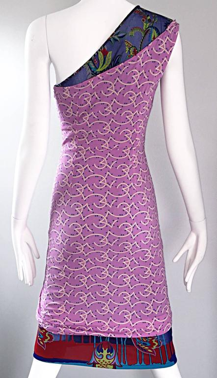 Vintage Gianni Versace Couture 1990s One Shoulder Mixed Media Bodycon Star Dress For Sale 1