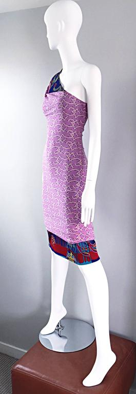 Vintage Gianni Versace Couture 1990s One Shoulder Mixed Media Bodycon Star Dress For Sale 2