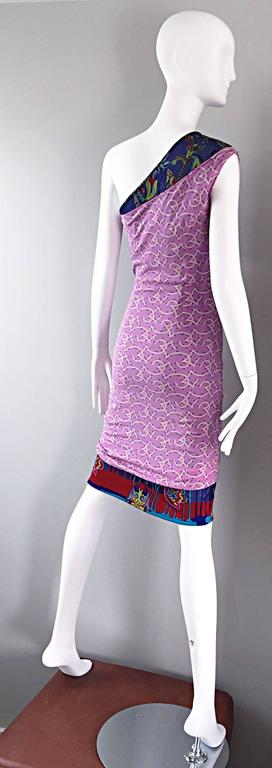 Vintage Gianni Versace Couture 1990s One Shoulder Mixed Media Bodycon Star Dress For Sale 4
