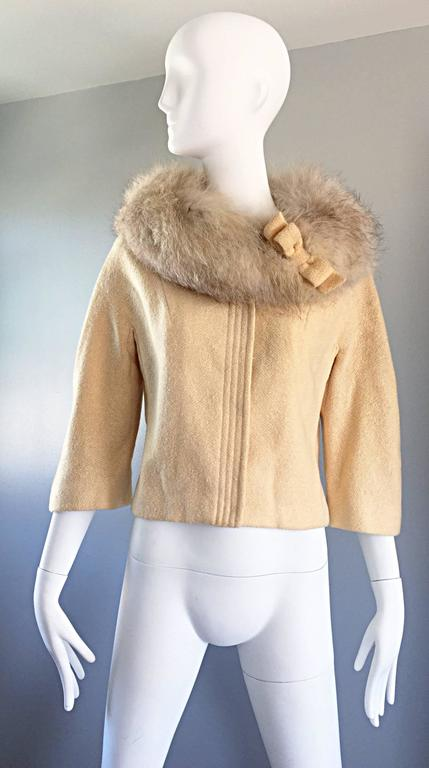 Incredible Vintage Lilli Ann 1960s Ivory Wool + Fur Cropped Swing Jacket Coat 2