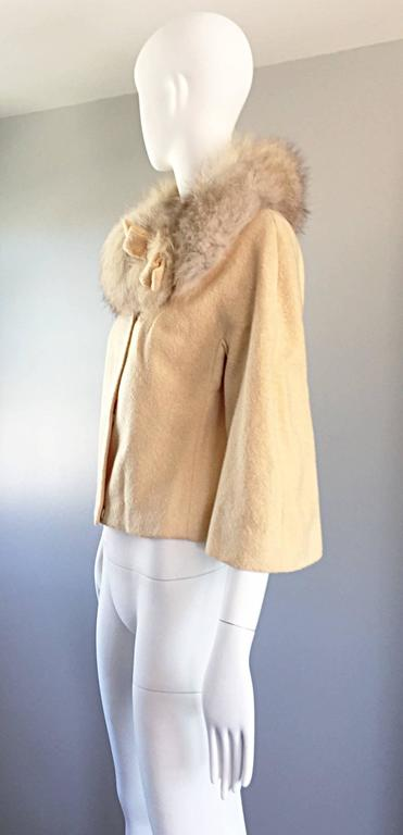 Incredible Vintage Lilli Ann 1960s Ivory Wool + Fur Cropped Swing Jacket Coat 3