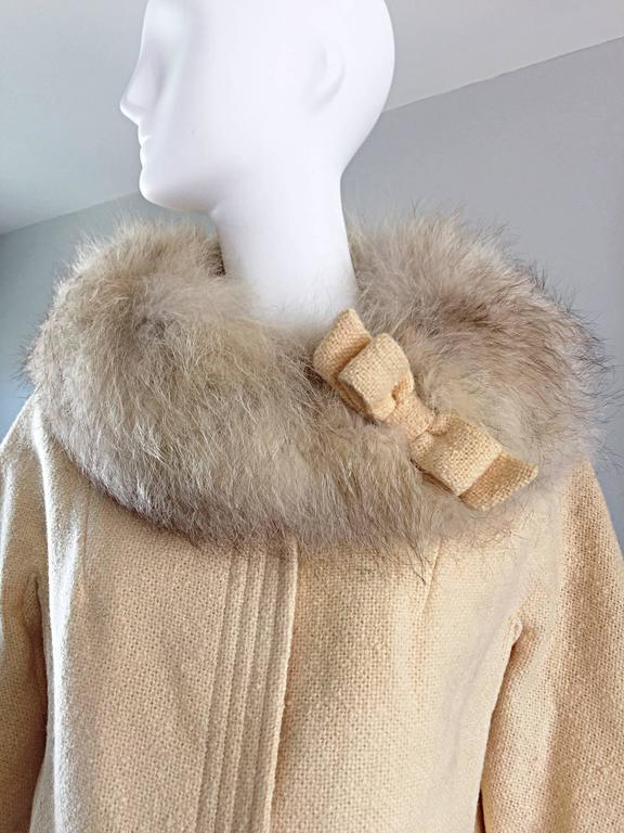 Incredible Vintage Lilli Ann 1960s Ivory Wool + Fur Cropped Swing Jacket Coat 4