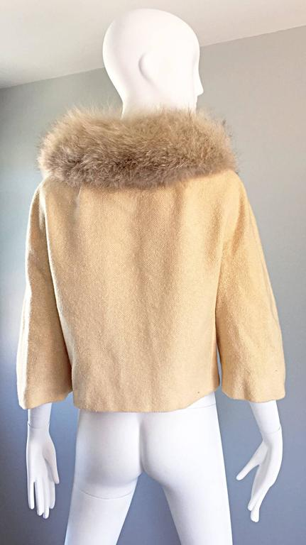 Incredible Vintage Lilli Ann 1960s Ivory Wool + Fur Cropped Swing Jacket Coat 5