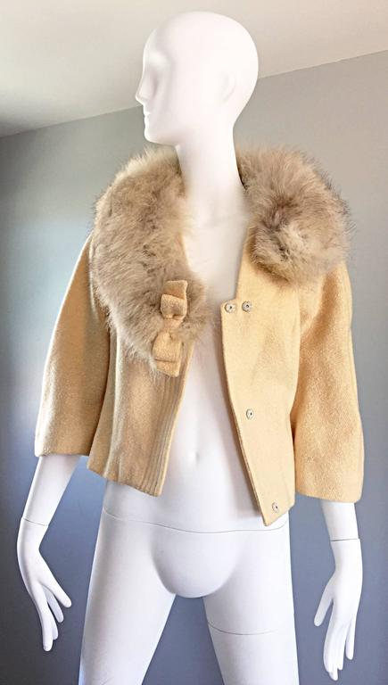 Incredible Vintage Lilli Ann 1960s Ivory Wool + Fur Cropped Swing Jacket Coat 6