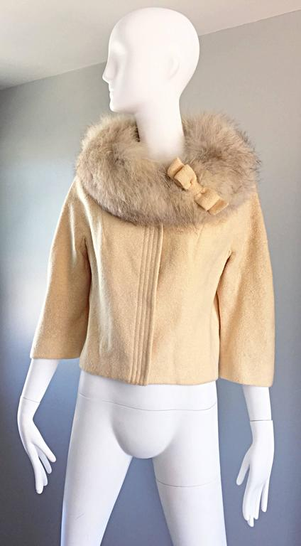 Incredible Vintage Lilli Ann 1960s Ivory Wool + Fur Cropped Swing Jacket Coat 9