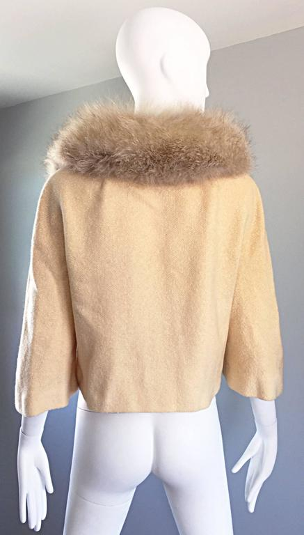 Incredible Vintage Lilli Ann 1960s Ivory Wool + Fur Cropped Swing Jacket Coat 8
