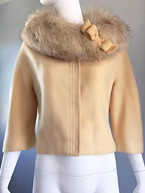 Incredible Vintage Lilli Ann 1960s Ivory Wool + Fur Cropped Swing Jacket Coat 7
