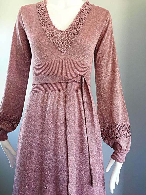Beautiful 1970s Pink Lurex Jersey Crochet Long Sleeve