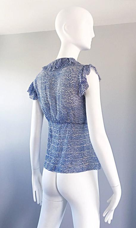 Vintage Oscar de la Renta Blue 'Sequin' Print Semi Sheer 90s Ruffle Blouse Top  6