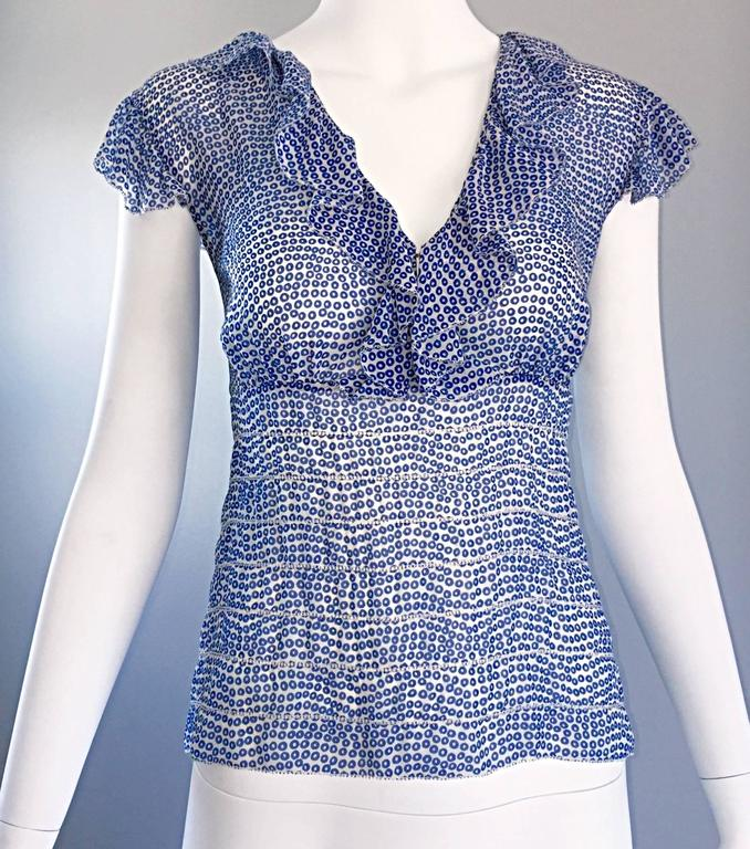 Vintage Oscar de la Renta Blue 'Sequin' Print Semi Sheer 90s Ruffle Blouse Top  8