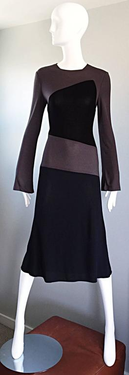 Vintage Calvin Klein Collection Black And Taupe Grey Color Block 1990s 90s Dress 2