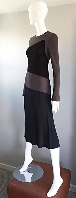 Vintage Calvin Klein Collection Black And Taupe Grey Color Block 1990s 90s Dress 3