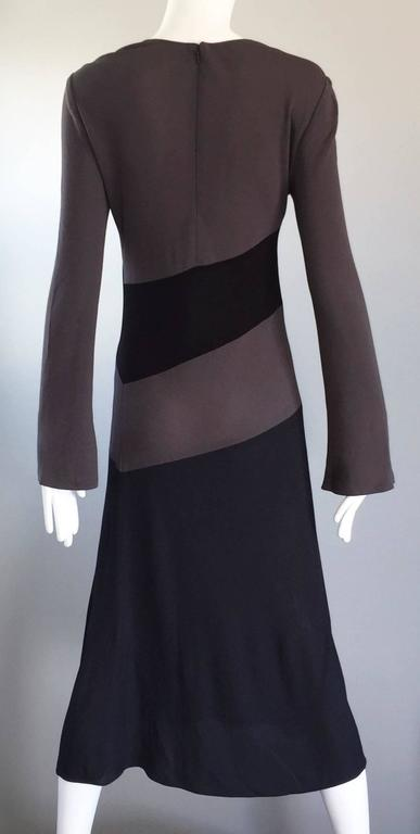 Women's Vintage Calvin Klein Collection Black And Taupe Grey Color Block 1990s 90s Dress For Sale