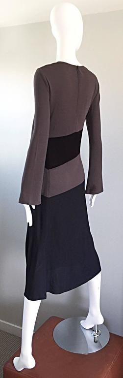 Vintage Calvin Klein Collection Black And Taupe Grey Color Block 1990s 90s Dress For Sale 1