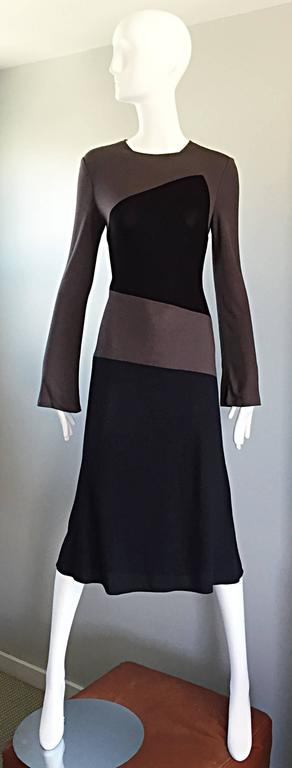 Vintage Calvin Klein Collection Black And Taupe Grey Color Block 1990s 90s Dress For Sale 4