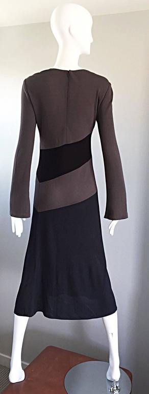 Vintage Calvin Klein Collection Black And Taupe Grey Color Block 1990s 90s Dress For Sale 3