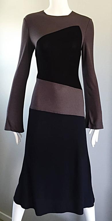Vintage Calvin Klein Collection Black And Taupe Grey Color Block 1990s 90s Dress For Sale 2