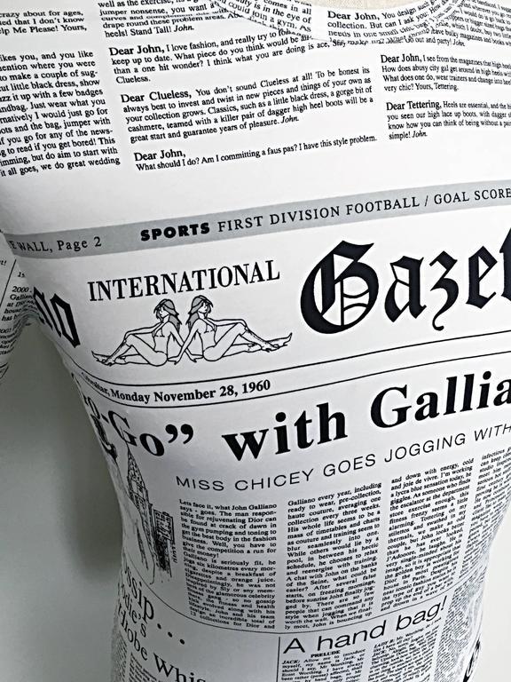 f98e6ed9a110c Iconic John Galliano Unisex Newspaper Newsprint Black and White Tee T Shirt  Top