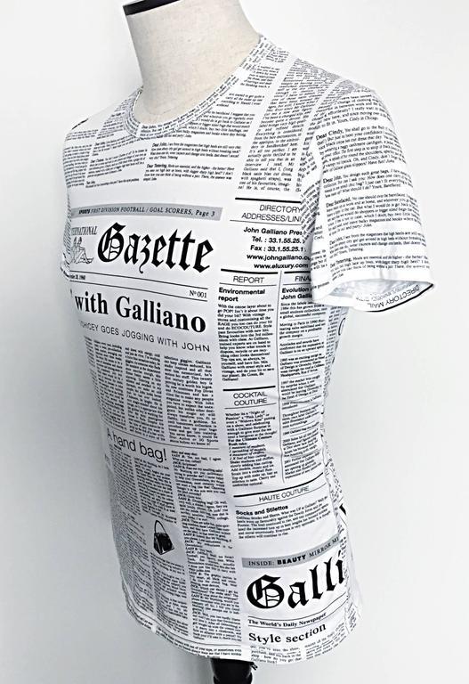 Gray Iconic John Galliano Unisex Newspaper Newsprint Black and White Tee T Shirt Top