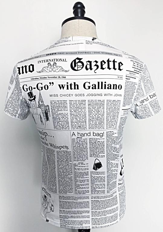 Women's or Men's Iconic John Galliano Unisex Newspaper Newsprint Black and White Tee T Shirt Top