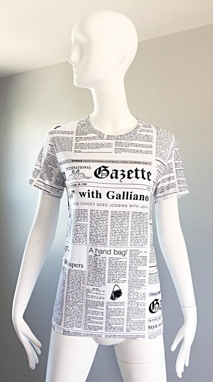 Iconic John Galliano Unisex Newspaper Newsprint Black and White Tee T Shirt Top 1
