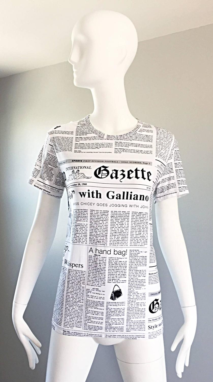 1ddde26c Iconic John Galliano Unisex Newspaper Newsprint Black and White Tee T Shirt  Top at 1stdibs