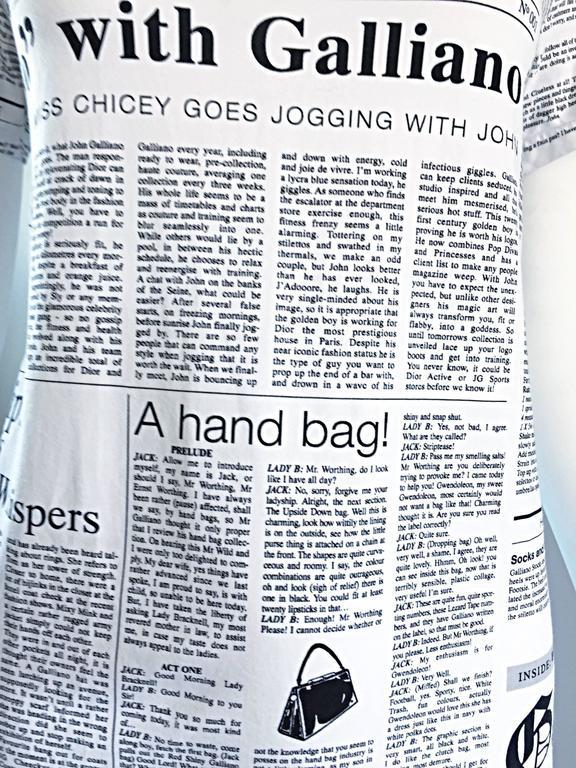 Iconic John Galliano Unisex Newspaper Newsprint Black and White Tee T Shirt Top 2