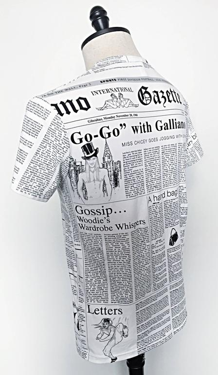 Iconic John Galliano Unisex Newspaper Newsprint Black and White Tee T Shirt Top 3