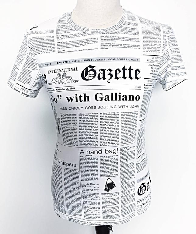 Iconic John Galliano Unisex Newspaper Newsprint Black and White Tee T Shirt Top 4