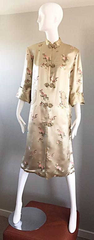 1960s Couture Asian Vintage Light Pale Gold Silk 60s