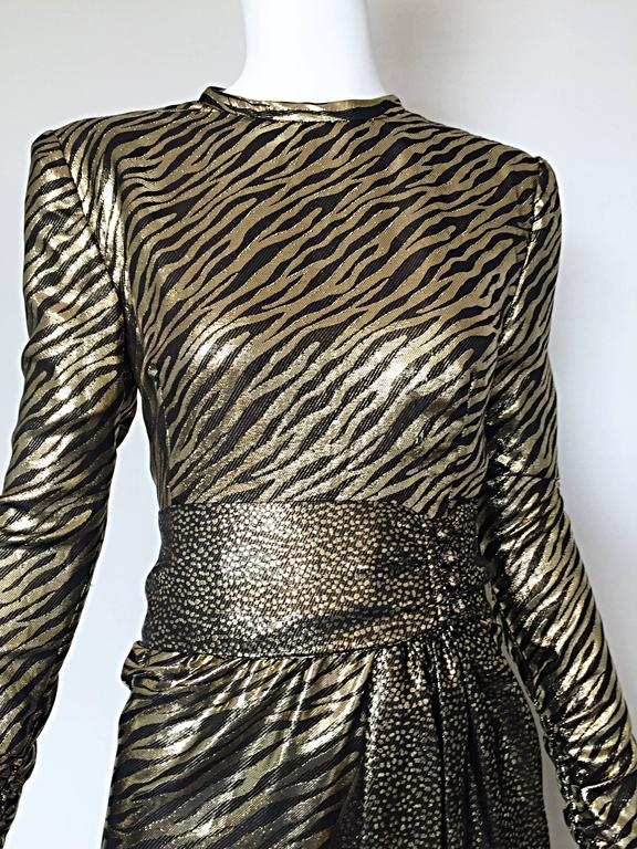 Pauline Trigere Vintage Gold and Black Silk Lame Zebra + Leopard Print Dress In Excellent Condition For Sale In San Francisco, CA