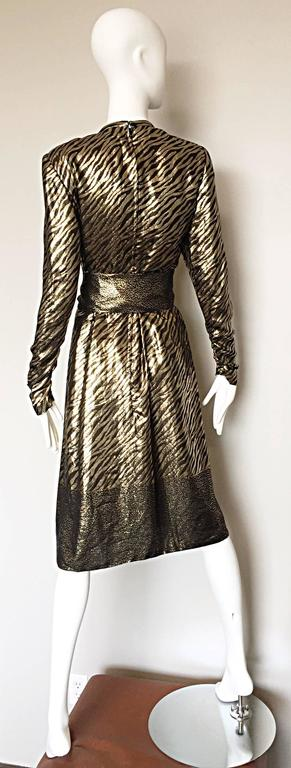 Women's Pauline Trigere Vintage Gold and Black Silk Lame Zebra + Leopard Print Dress For Sale