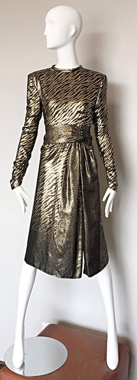 Pauline Trigere Vintage Gold and Black Silk Lame Zebra + Leopard Print Dress For Sale 1