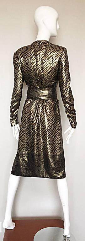 Pauline Trigere Vintage Gold and Black Silk Lame Zebra + Leopard Print Dress For Sale 2