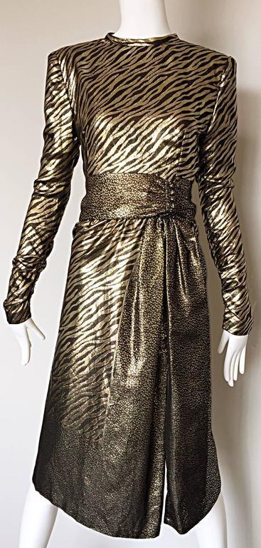 Pauline Trigere Vintage Gold and Black Silk Lame Zebra + Leopard Print Dress For Sale 3
